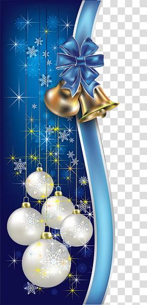 putih dan biru pernak-pernik Natal, Santa Claus Liburan pohon Natal Tahun Baru, Natal perbatasan dekoratif biru png