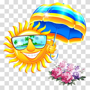 matahari langit kuning memegang ilustrasi payung bergaris, Kacamata Musim Panas, Berjuang payung matahari PNG clipart