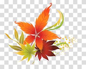 Warna daun musim gugur, Fall Leaves Decor, ilustrasi daun coklat dan hijau PNG clipart
