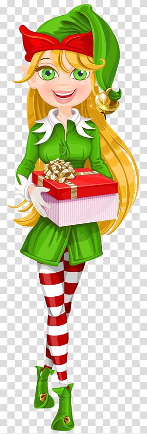 kurcaci perempuan memegang hadiah, Elf di Rak Santa Claus Natal elf, Natal Elf png