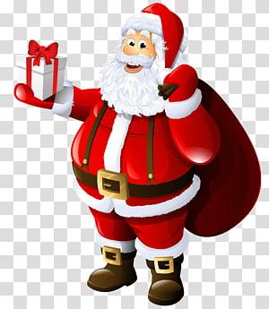Santa Claus, Bu Claus Hadiah Santa Claus, Santa Claus dengan Hadiah dan Tas png