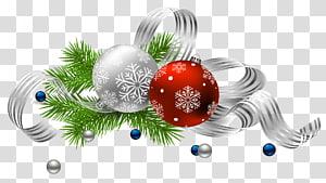 Dekorasi Natal, Ornamen Natal, Santa Claus, Dekorasi Natal, ilustrasi pernak-pernik perak dan merah png