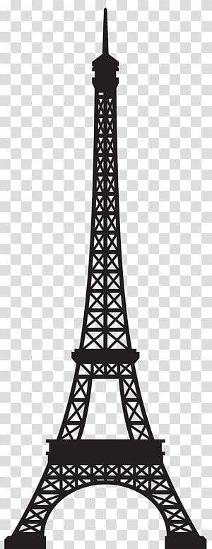 Landmark Menara Eiffel, Menara Eiffel Siluet, ilustrasi Menara Eiffel hitam png