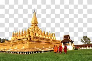 orang yang berdiri di dekat kuil emas, Pha That Luang Haw Phra Kaew Wat Si Saket Luang Prabang Chiang Mai, Thailand Pemandangan candi emas png