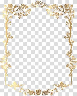 bingkai, Golden Rectangular French Floral Border, karya seni digital bingkai emas floral png
