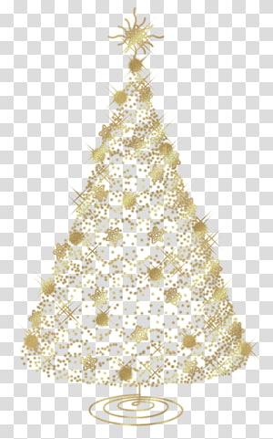 Natal, Pohon Emas Natal, ilustrasi pohon Natal emas dengan latar belakang biru PNG clipart