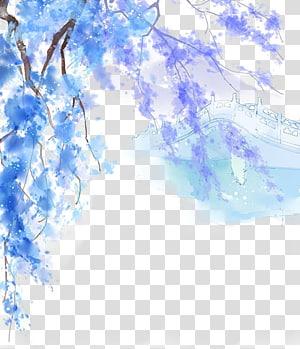 Lukisan Menggambar seni Cina, ilustrasi indah zaman kuno Cina, lukisan pohon ungu dan biru png