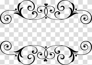 nama pernikahan monogram, arabesco, ilustrasi bingkai bunga hitam PNG clipart