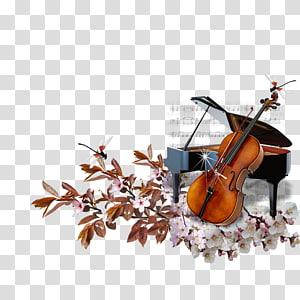 Ilustrasi biola dan grand piano, Piano Cello String Musical instrument, A piano png