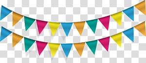 Pennon Flag Banner Party Bunting, bendera segitiga, karya seni digital buntings biru dan beraneka warna png