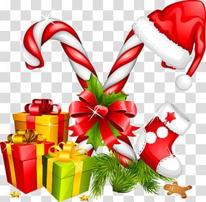 Ilustrasi Natal, Santa Claus Permen tongkat dekorasi Natal, Hadiah Santa Hat dan Candy Canes Dekorasi Natal png