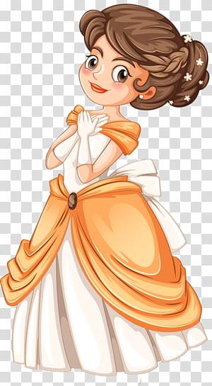 Gadis berpakaian oranye dan abu-abu, Princess Cartoon, Royal Princess png