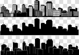 kolase ilustrasi kota, Gedung Siluet Kota Siluet, Siluet kota hitam dan putih PNG clipart