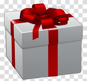 ilustrasi kotak hadiah abu-abu dan merah, hadiah Natal, Kotak Hadiah Putih dengan Red Bow png