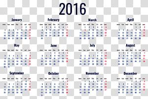 Kalender, Kalender 2016, Kalender 2016 PNG clipart