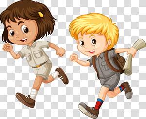 gadis dan anak laki-laki berjalan ilustrasi, Ilustrasi Kartun Lari Anak, anak-anak kartun yang lucu berlari PNG clipart