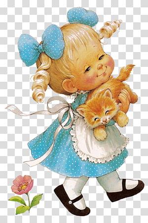 Bayi Perempuan Anak, Gadis Cantik dengan Kucing Gratis, gadis yang memegang ilustrasi kucing cokelat PNG clipart