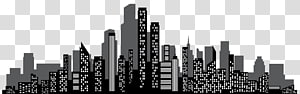 ilustrasi cityscape kota, Merek Pencakar Langit Skyline Hitam dan putih, Cityscape Silhouette PNG clipart