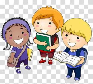 tiga balita dengan ilustrasi tas, Kartun Siswa, Seorang siswa dengan Buku png