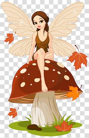 ilustrasi peri jamur, Peri Jamur cincin Marasmius oreades Jamur, Peri Musim Gugur dan Jamur png