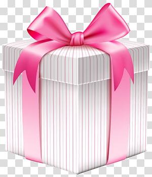 giftbox putih dan merah muda, Kotak hadiah Natal, Kotak Hadiah Bergaris Putih png