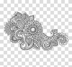 ilustrasi bunga putih dan hitam, Ornamen Paisley Textile Pattern, Mandala Artwork Pattern PNG clipart