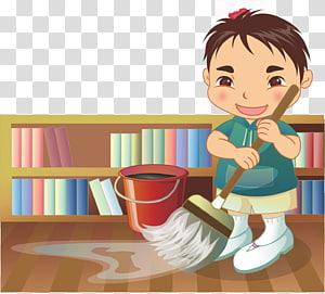 ilustrasi lantai pembersihan orang, Ilustrasi Kartun Anak, Membersihkan anak-anak png