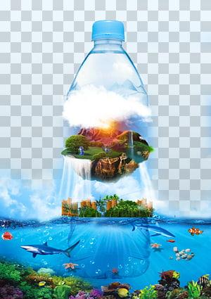 botol plastik bening, Air mineral Air kemasan, Air mineral iklan png