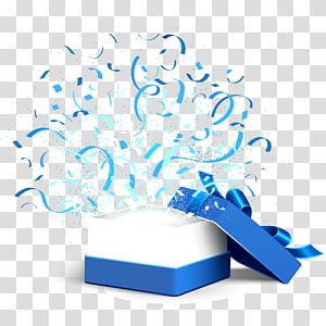 ilustrasi kotak hadiah putih dan biru, File Kotak Hadiah Komputer, Buka kotak hadiah biru png