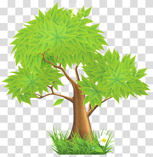 pohon hijau, Euclidean Green Illustration, Green Painted Tree png