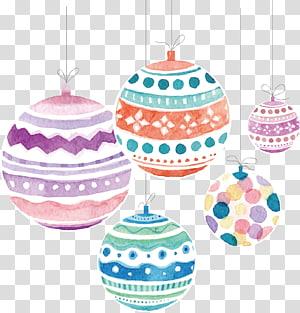 lima ilustrasi ornamen warna-warni, ornamen Natal Santa Claus Pillow Gift, Watercolor Christmas ball png