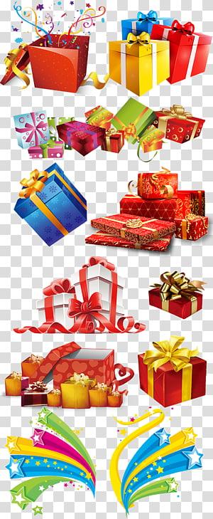 berbagai macam kotak hadiah ilustrasi, Templat, Berwarna koleksi kotak hadiah berwarna-warni png