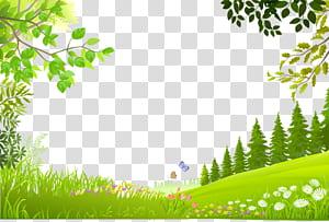Pemandangan Alam, pohon Kartun tanaman bahan latar belakang rumput hijau, ilustrasi pohon hijau png