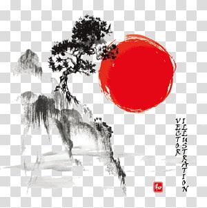 pohon dan tebing, lukisan mencuci Tinta Menggambar seni Jepang lukisan Cat Air, Jepang lukisan pemandangan tinta png