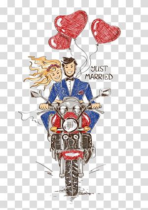 pria dan wanita mengendarai motor ilustrasi, Undangan Pernikahan Sepeda Motor Pernikahan, Pasangan Anime mengendarai sepeda motor PNG clipart