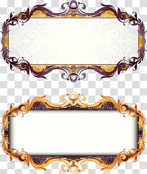 dua bingkai perbatasan ungu-dan-emas, bingkai Art Deco, bar judul kotak gaya retro Eropa png