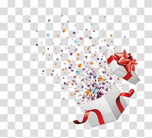kotak hadiah dengan confetti, Ulang Tahun hadiah Natal, kotak terbuka gratis png
