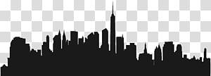 Kota: Skylines Silhouette New York City Wall decal, Siluet Bangunan Kota, siluet garis abu-abu langit kota PNG clipart