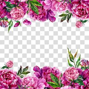 Undangan pernikahan, Bunga, kartu ucapan, Peony, Flowers Border, pink peony border png