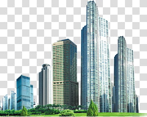 gedung-gedung tinggi di dekat ilustrasi rumput hijau, Bangunan Bisnis, gedung-gedung tinggi PNG clipart