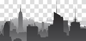 siluet bangunan, Manhattan Skyline, cityscape PNG clipart