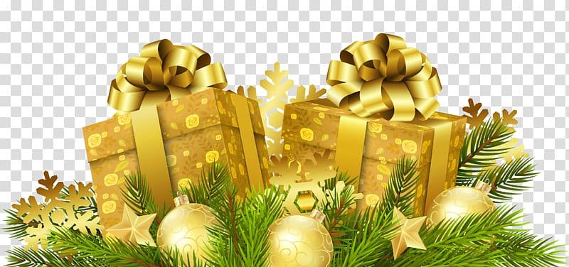 dua kotak hadiah emas, hadiah Natal Santa Claus hadiah Natal, Hadiah Natal Dekorasi png