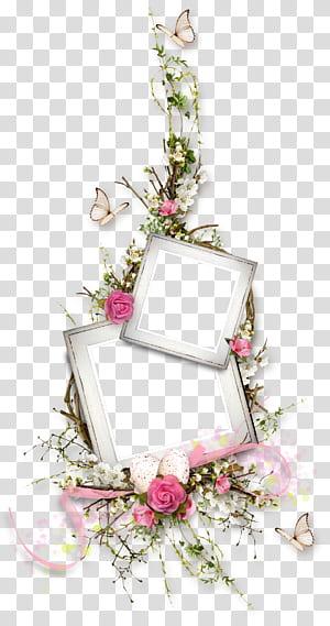 Bunga-bunga merah muda Desain bunga, perbatasan tanaman bunga kupu-kupu, dua bingkai putih dikelilingi oleh bunga-bunga merah muda dan putih png