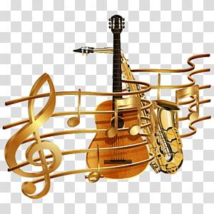 not dan gitar, notasi ilustrasi Clef, not dengan emas png