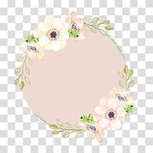 Lukisan cat air Bunga merah muda, karangan bunga yang dilukis dengan tangan, bingkai bunga kuning dan merah muda png