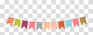 Paper Bunting Party, Bendera gantung warna dekoratif, ilustrasi buntings warna-warni png
