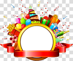 balon, kue dan template hadiah,, hadiah ulang tahun png