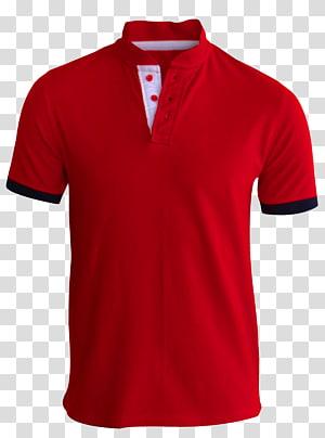 Kaos Polo Shirt Lengan, Kaos Merah, kaos polo merah dan hitam png