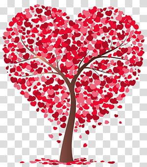 Tree, Heart Tree, ilustrasi pohon pink dan merah hati png