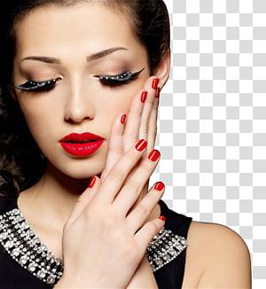 Wanita menyentuh wajah kirinya saat mata tertutup, Kosmetik ekstensi bulu mata Beauty Parlor Eye liner, makeup indah Perempuan PNG clipart